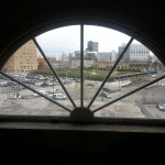 A view of the city through one of the top-floor windows of the GAR building.
