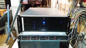 An elegant 4U rackmount computer sitting on top of a short rack