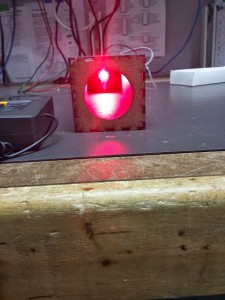 View of LED from the business end of the jig