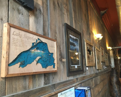 Lake Superior bathymetric map on the wall at KBC