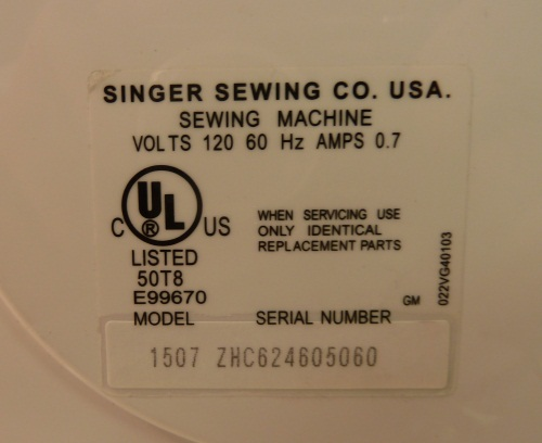The Singer's identification plate, showing the serial number.